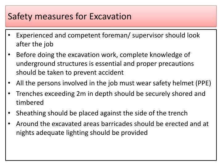 Safety measures for Excavation