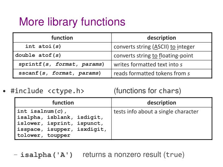 More library functions
