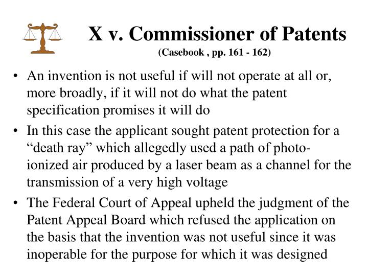X v. Commissioner of Patents