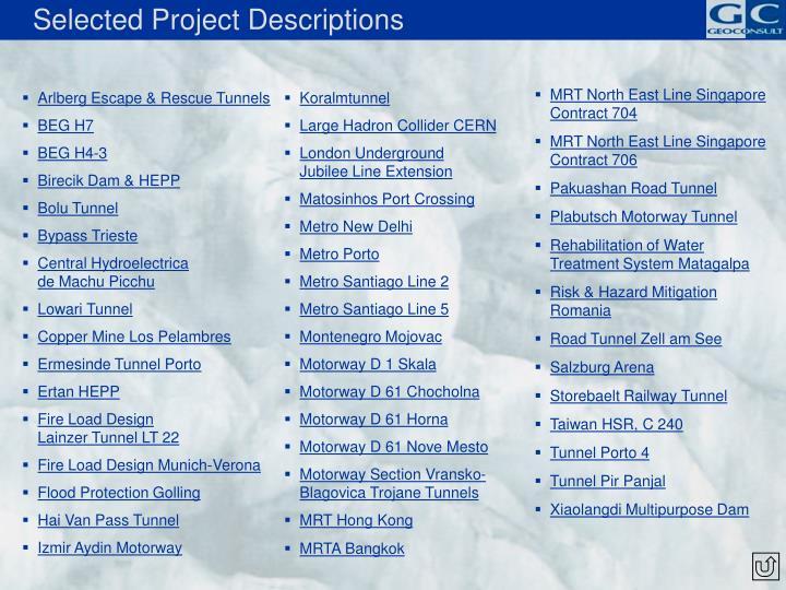 Selected Project Descriptions