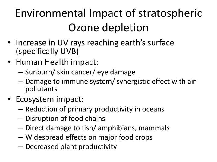 Environmental Impact of stratospheric Ozone depletion