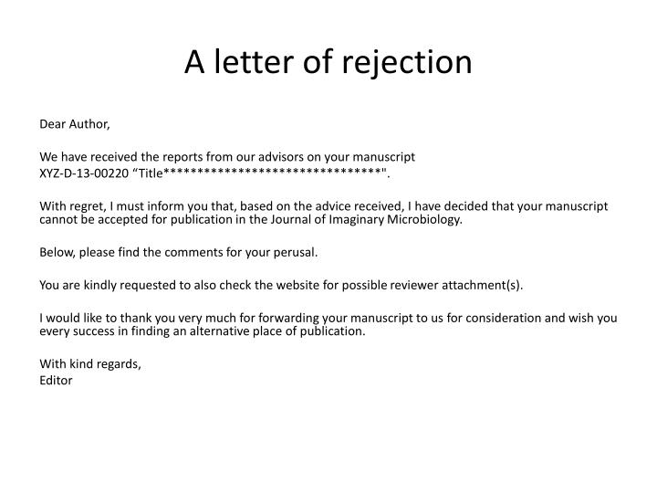 A letter of rejection