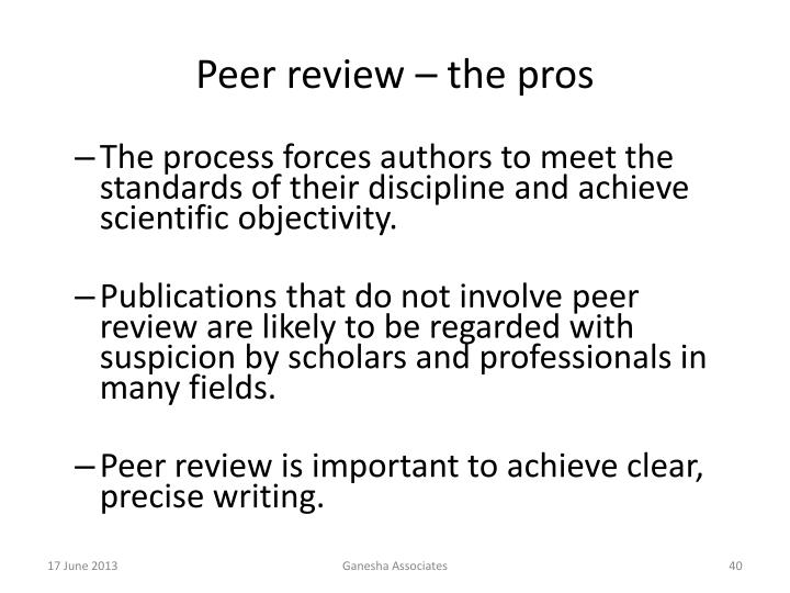 Peer review – the pros