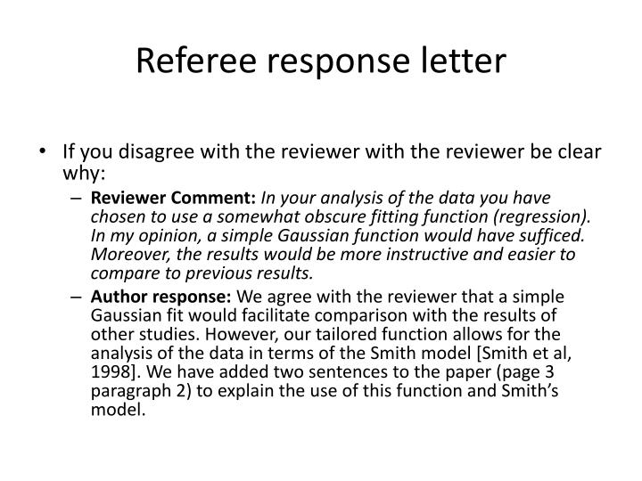 Referee response letter