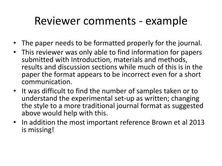 Reviewer comments - example