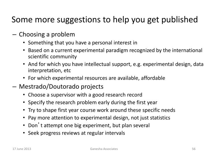 Some more suggestions to help you get published