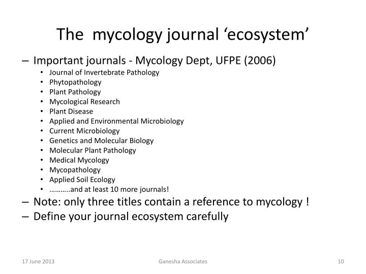 The  mycology journal 'ecosystem'