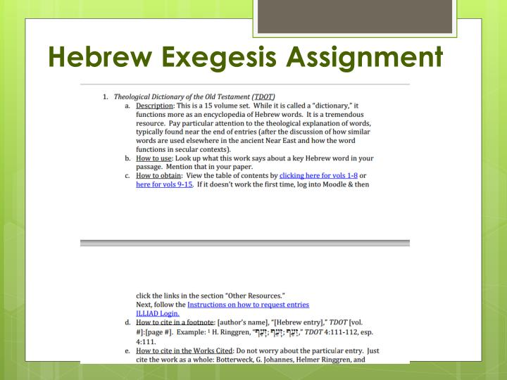 Hebrew Exegesis Assignment