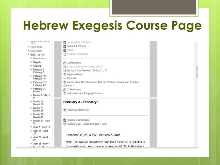 Hebrew Exegesis Course Page