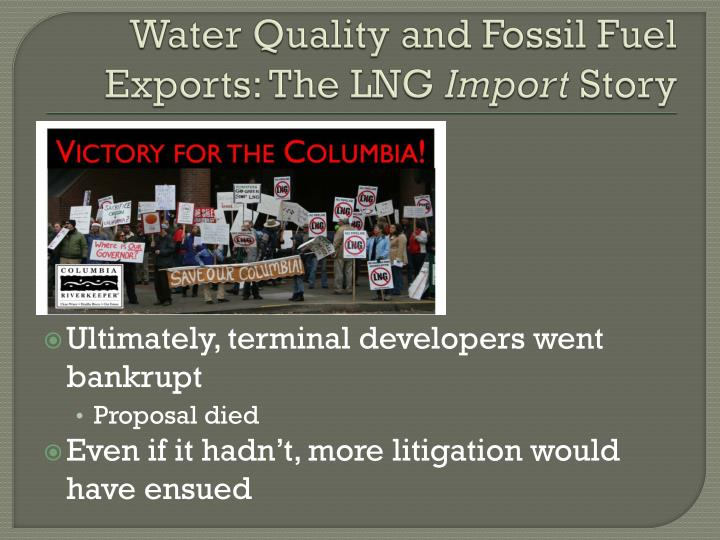 Water Quality and Fossil Fuel Exports: The LNG