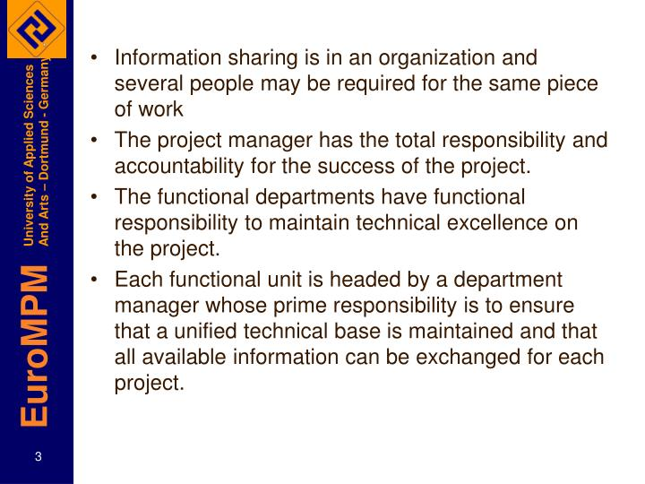 Information sharing is in an organization and several people may be required for the same piece of w...