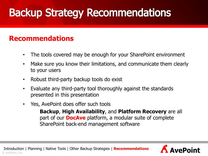 Backup Strategy Recommendations