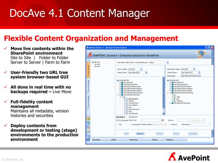 DocAve 4.1 Content Manager
