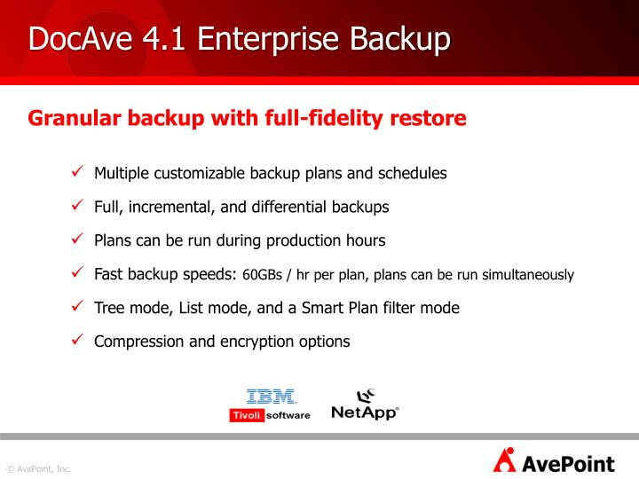 DocAve 4.1 Enterprise Backup