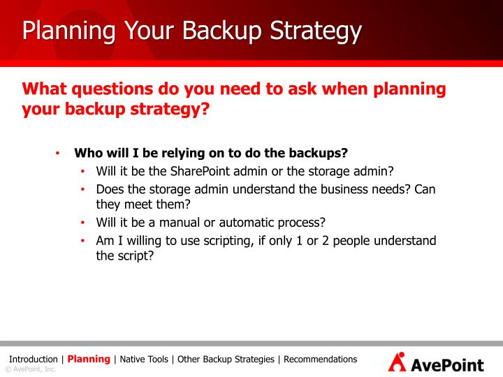Planning Your Backup Strategy
