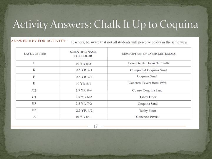 Activity Answers: Chalk It Up to Coquina