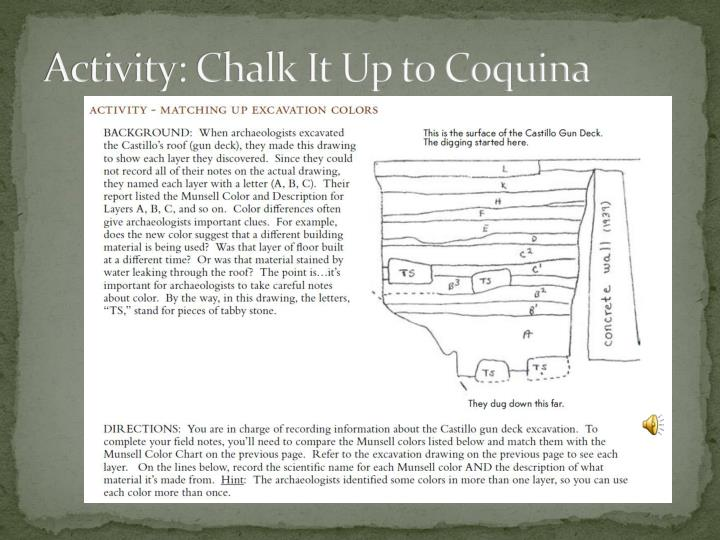 Activity: Chalk It Up to Coquina