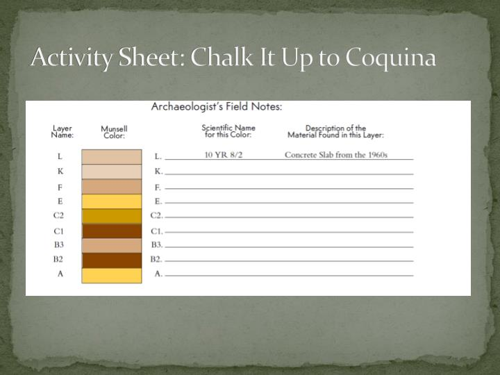 Activity Sheet: Chalk It Up to Coquina