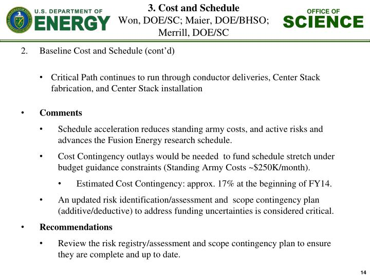 3. Cost and Schedule