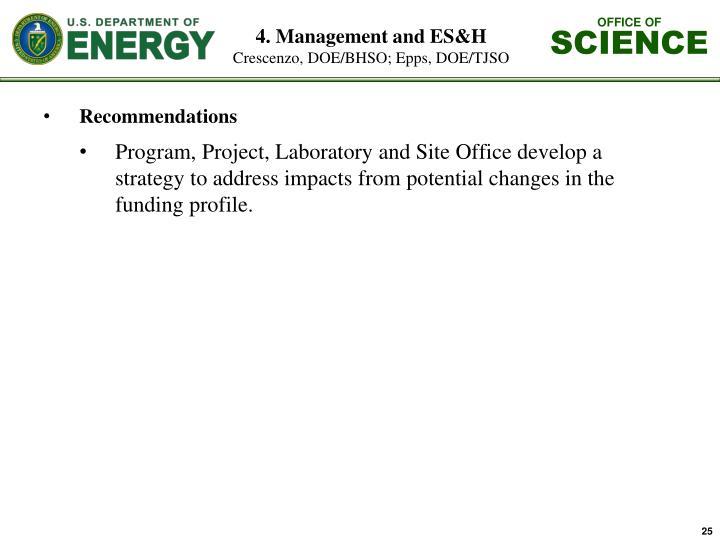 4. Management and ES&H