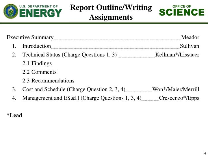 Report Outline/Writing Assignments