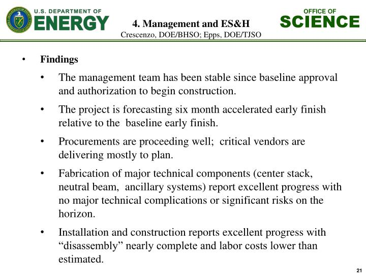 4. Management and ES&H