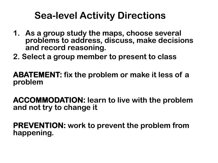 Sea-level Activity Directions