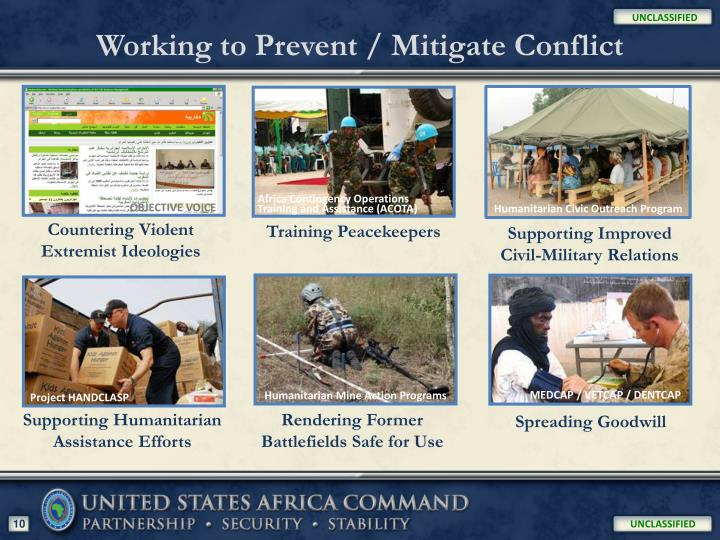 Working to Prevent / Mitigate Conflict