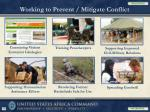 working to prevent mitigate conflict