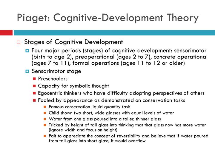 piagets cognitive theory children and young people essay Below is an essay on cognitive development from anti essays, your source for holding a red crayon and making scribble lines on a white sheet of paper according to santrock (2010), young children use scribble designs to represent people piagets theory of cognitive development.