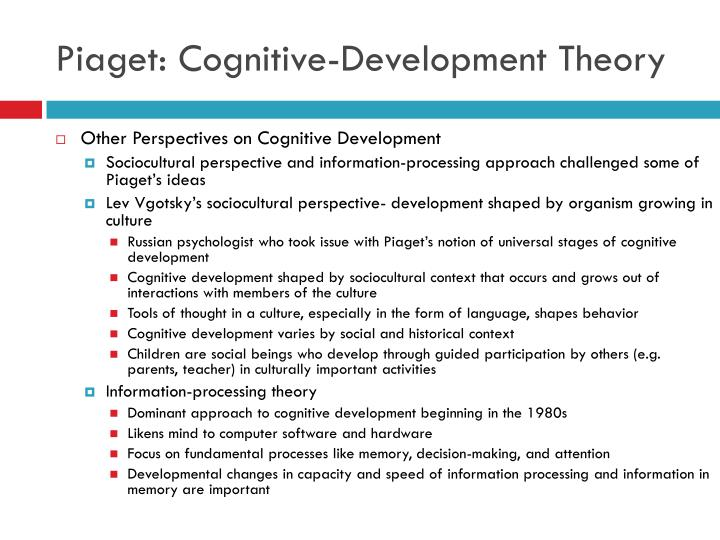 piaget s cognitive theory essay example Piaget theories piaget became the first scientist to undertake an extensive study of cognitive development jean piaget was a swiss psychologist instrumental in the creation of theories regarding the development of children college course work in education will undoubtely include the study of many of piaget's theories.