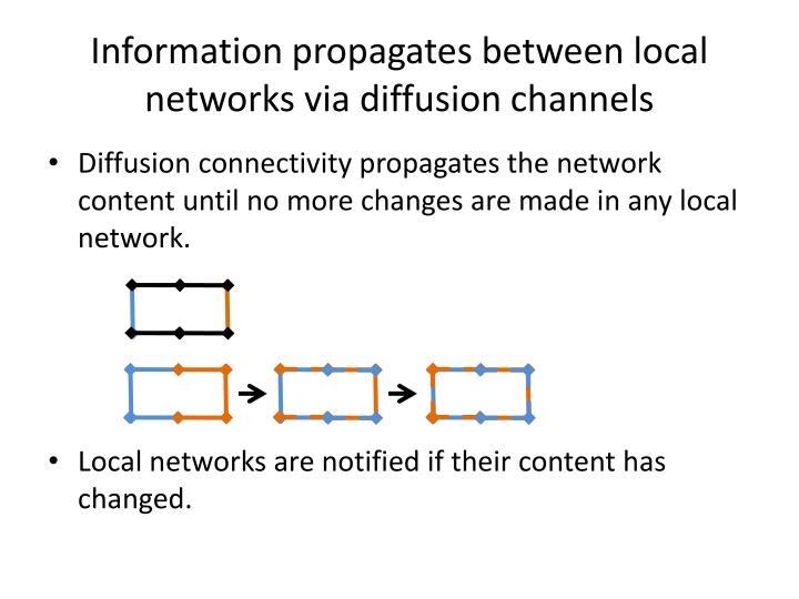 Information propagates between local networks via diffusion channels