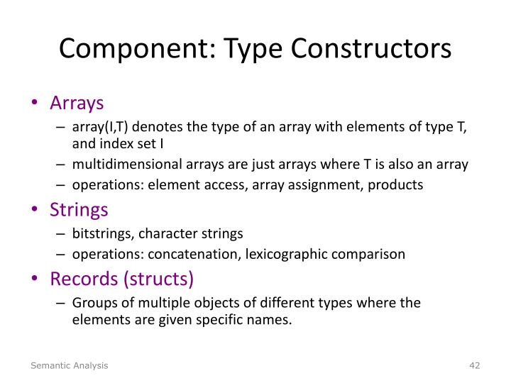 Component: Type Constructors