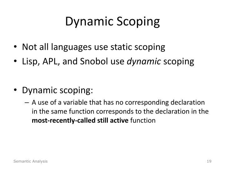 Dynamic Scoping