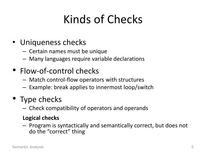 Kinds of Checks