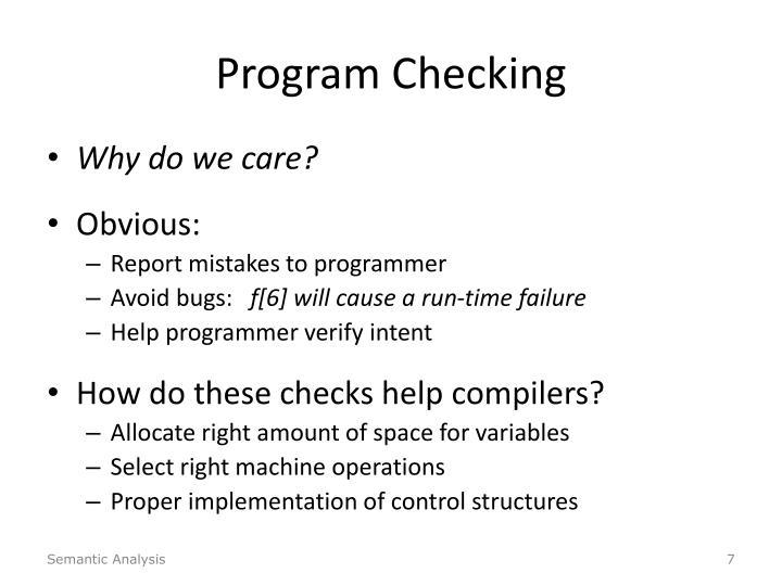 Program Checking