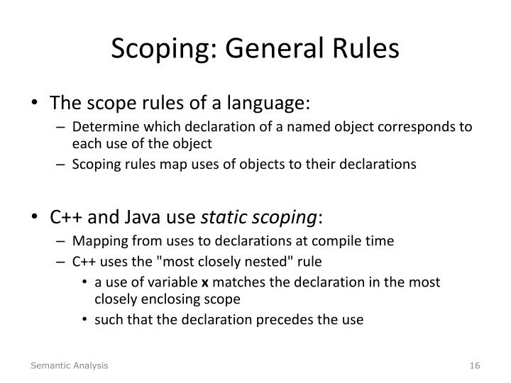 Scoping: General Rules