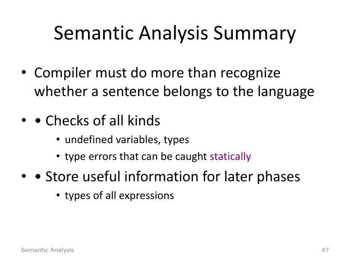 Semantic Analysis Summary