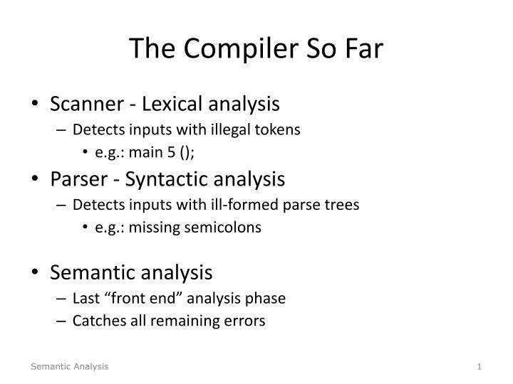 The Compiler So Far