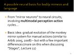 a possible neural basis for bodily mimesis and language