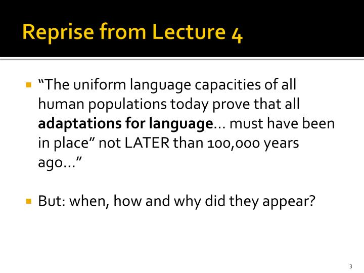 Reprise from Lecture 4