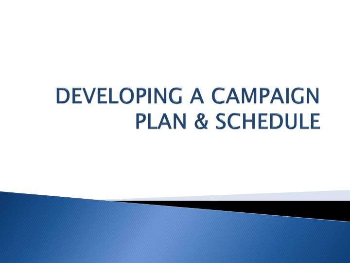DEVELOPING A CAMPAIGN PLAN & SCHEDULE