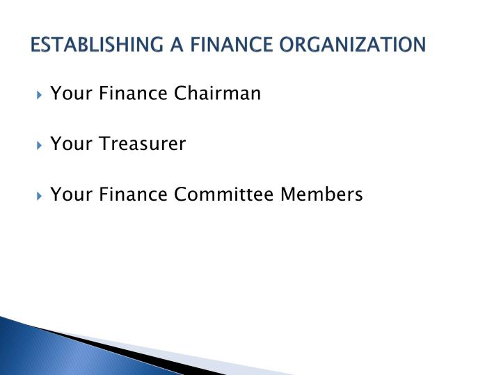 ESTABLISHING A FINANCE ORGANIZATION