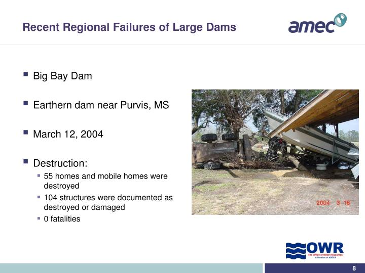 Recent Regional Failures of Large Dams