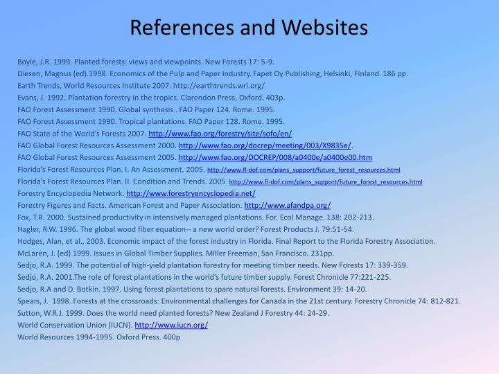 References and Websites