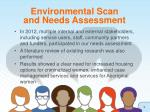 environmental scan and needs assessment