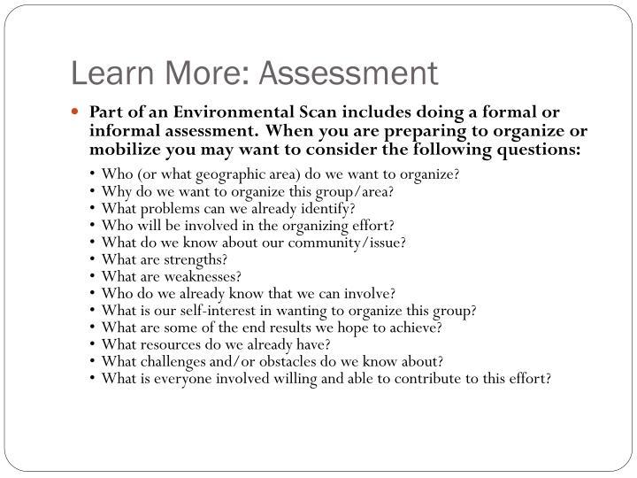 Learn More: Assessment
