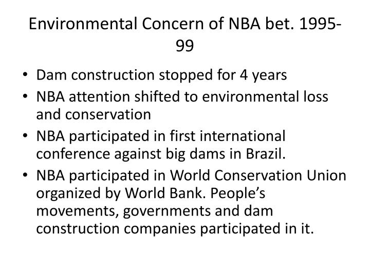 Environmental Concern of NBA bet. 1995-99