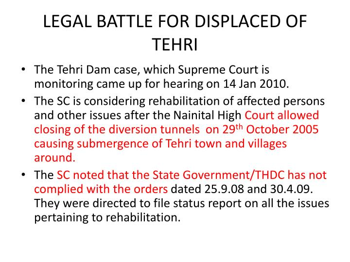 LEGAL BATTLE FOR DISPLACED OF TEHRI