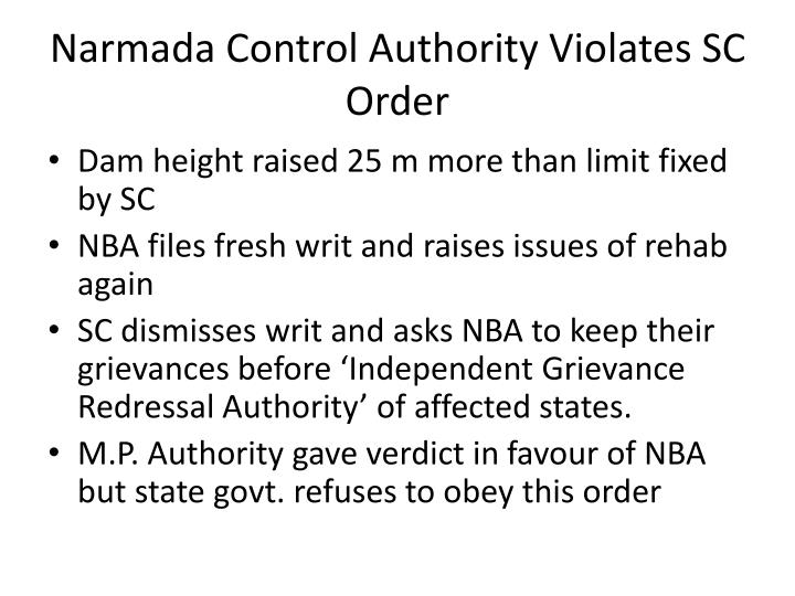 Narmada Control Authority Violates SC Order